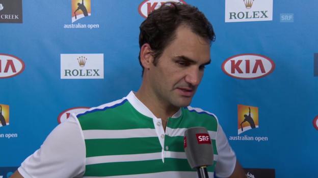Video «Federer spricht über Achtelfinal-Gegner Goffin» abspielen