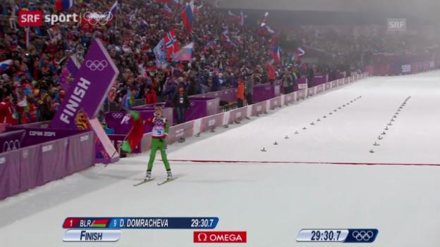 Video «Biathlon: Verfolgung Frauen (Sotschi aktuell, 11.02.2014)» abspielen