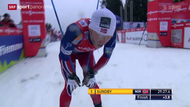 Video «Langlauf: 9. Tour de Ski, Männer, Schlussetappe auf die Alpe Cermis» abspielen