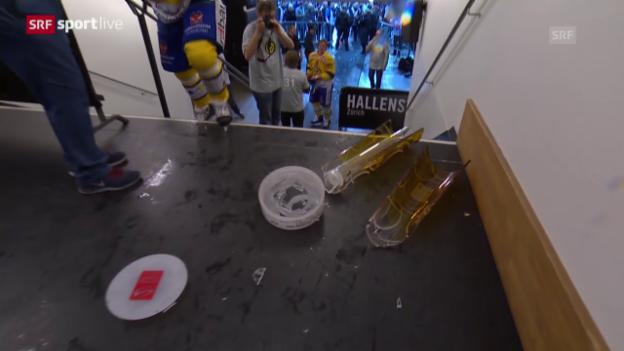 Video «Eishockey: Playoff-Final: Hier geht der Meisterpokal zu Bruch» abspielen