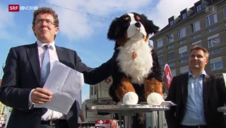 Video «SVP-Wahlkampfleiter Albert Rösti und Maskottchen Willi» abspielen