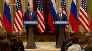 Video «FOKUS: Ein zurückhaltender Donald Trump trifft Wladimir Putin» abspielen