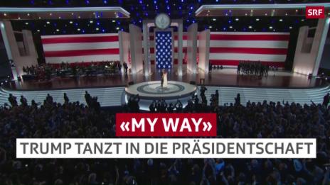 Link öffnet eine Lightbox. Video Trump tanzt in seine Präsidentschaft abspielen