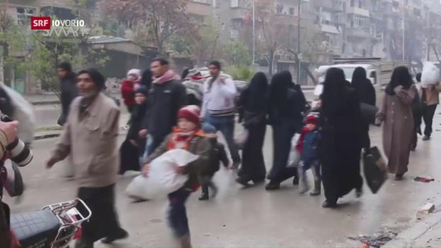 Video «Bangen Warten auf die Flucht aus Aleppo» abspielen