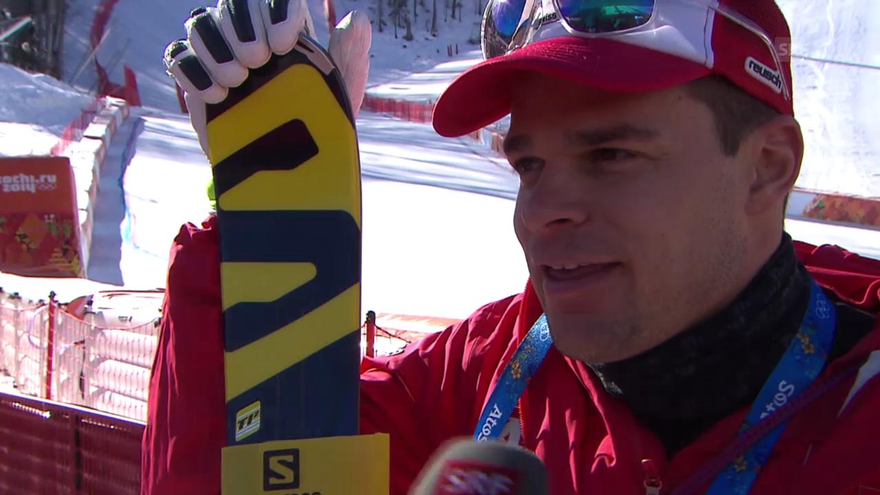 Sotschi, Ski alpin: 1. Abfahrtstraining Männer, Interview mit Patrick Küng