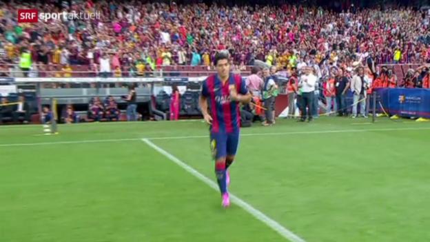 Video «Fussball: Der FC Barcelona testete erfolgreich» abspielen