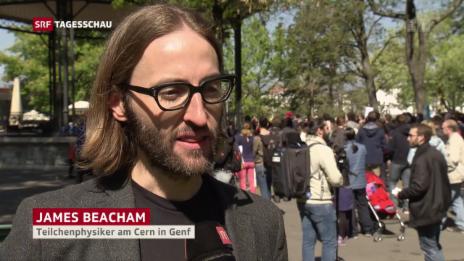 Link öffnet eine Lightbox. Video «March for Science»: Hunderte demonstrieren in Genf abspielen