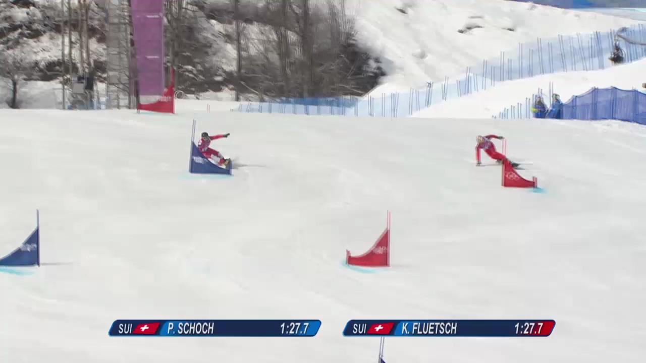 Snowboard: Parallel-RS, Qualifikation, 2. Lauf von Philipp Schoch und Kaspar Flütsch (sotschi direkt, 19.2.14)