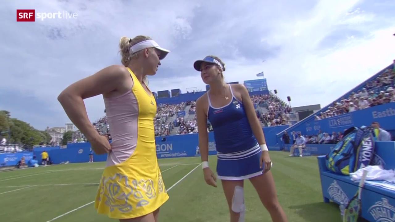 Tennis: WTA Eastbourne, Halbfinal Bencic - Wozniacki