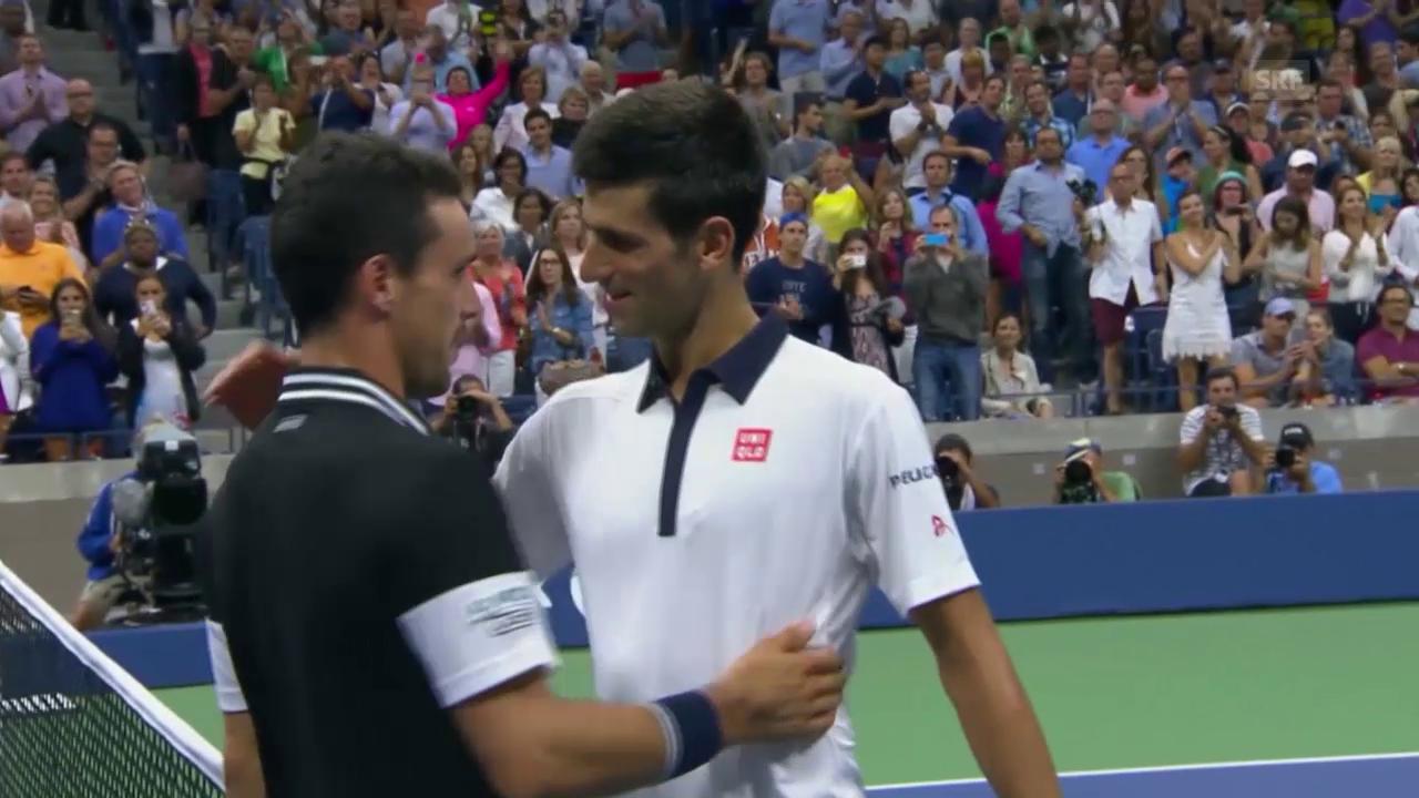 Tennis: US Open, Djokovic - Bautista Agut, Matchball
