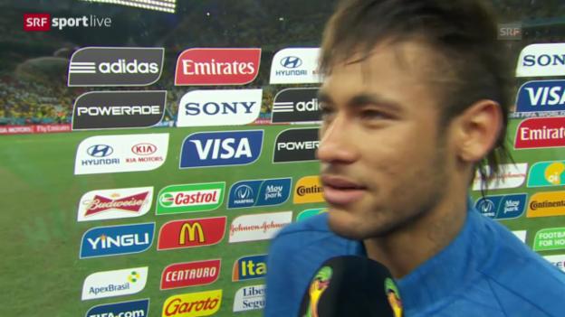 Video «Fussball: WM 2014, BRA-CRO, Interviews Neymar, Luiz» abspielen