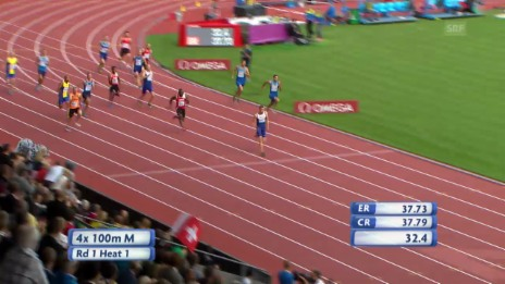 Video «Leichtathletik-EM: Schweizer Rekord 4x100-m-Staffel Männer» abspielen
