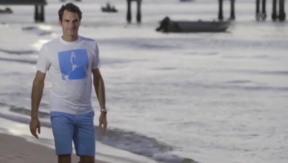 Roger Federer bei den Delfinen