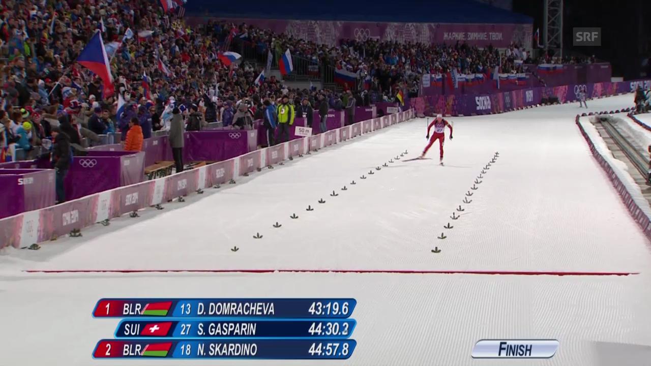Biathlon: 15 km der Frauen, Zieleinlauf Selina Gasparin (sotschi direkt, 14.02.2014)