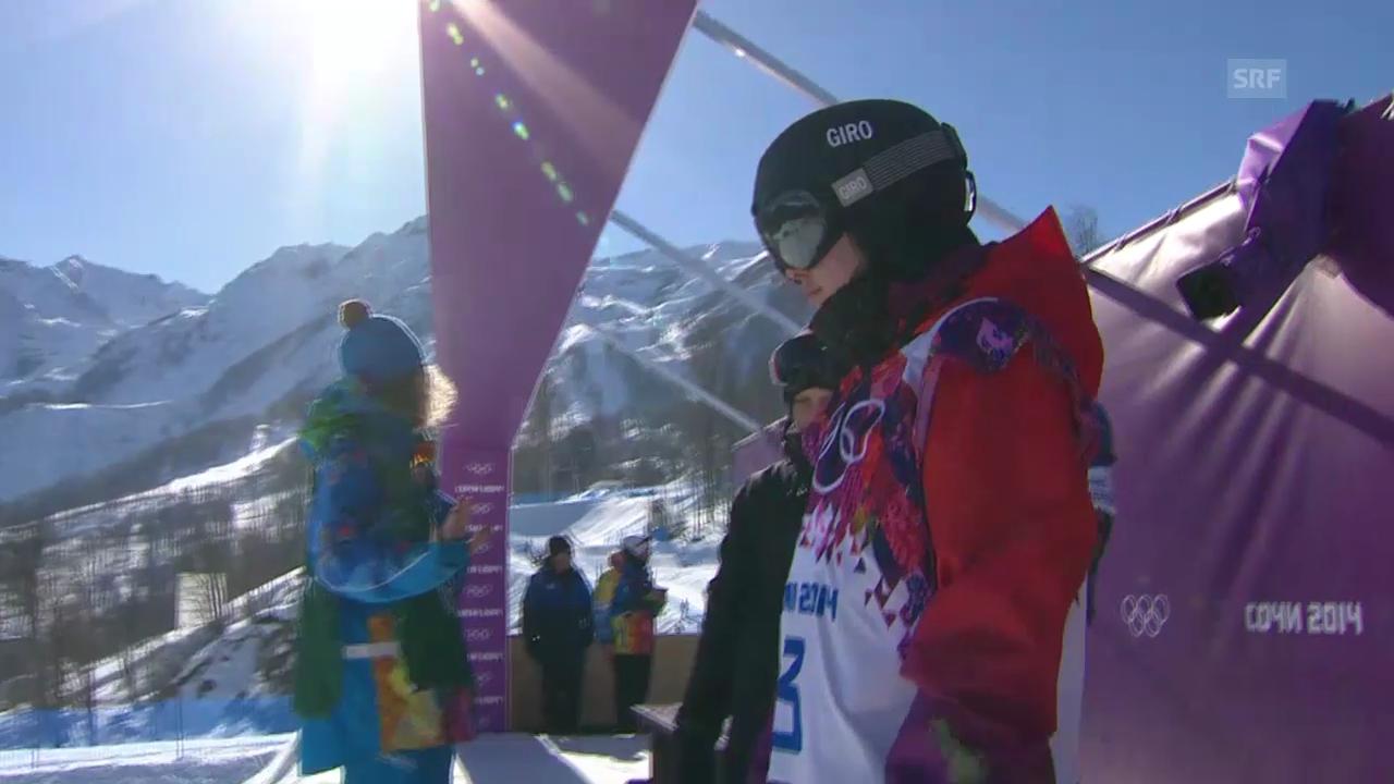 Sotschi: Snowboard Slopestyle Frauen, Qualifikation, 1. Lauf Sina Candrian