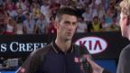 Video «Australian Open: Platzinterview Djokovic («sportlive»)» abspielen