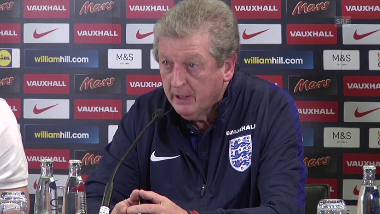 Englands Trainer Roy Hodgson vor dem Spiel gegen Deutschland (englisch, Quelle: SNTV)