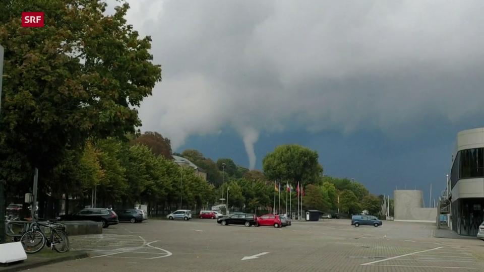 Tornado zieht an Kieler Uferpromenade vorbei