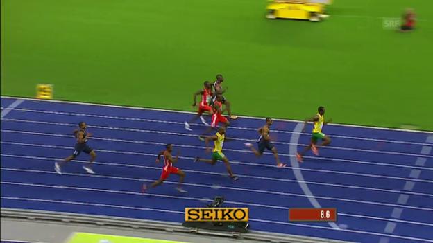 Video «Bolts WM-Gold über 100 m 2009 in Berlin» abspielen