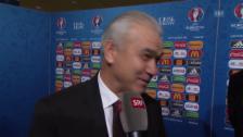 Video «Fussball: EM-Auslosung, Reaktion Rumänien-Coach Iordanescu» abspielen