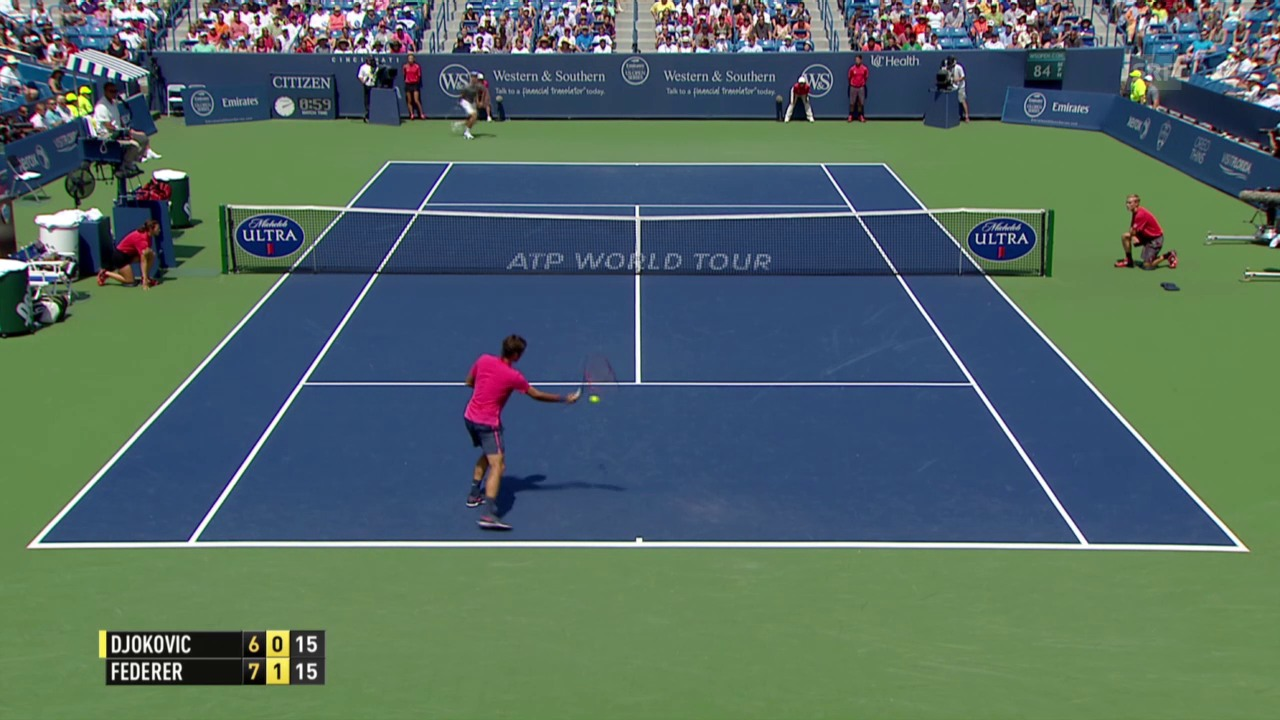 Tennis: ATP 1000 Cincinnati, Final Federer - Djokovic, Federer punktet mit einem Stoppball