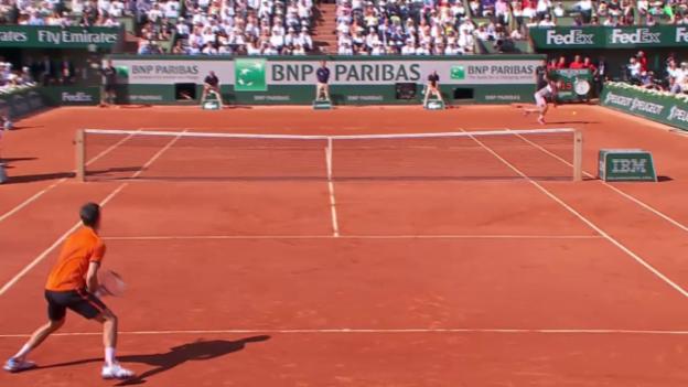 Video «Tennis: Final French Open; Djokovic - Wawrinka, Zauberschlag Wawrinka» abspielen