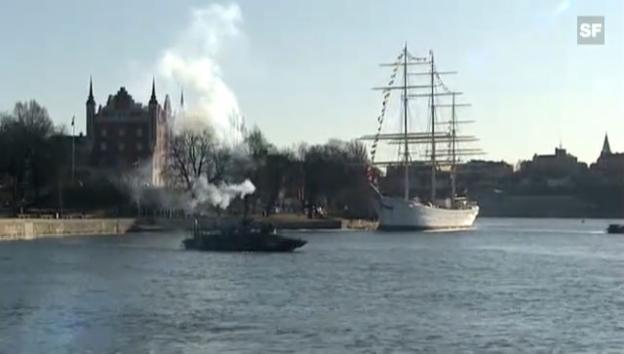 Video «Freudenschüsse in Stockholm für das Baby (unkomm.)» abspielen