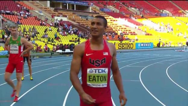 Video «Ashton Eatons Wettkampf (100 m, 110 Meter Hürden, 400 m, Weitsprung)» abspielen