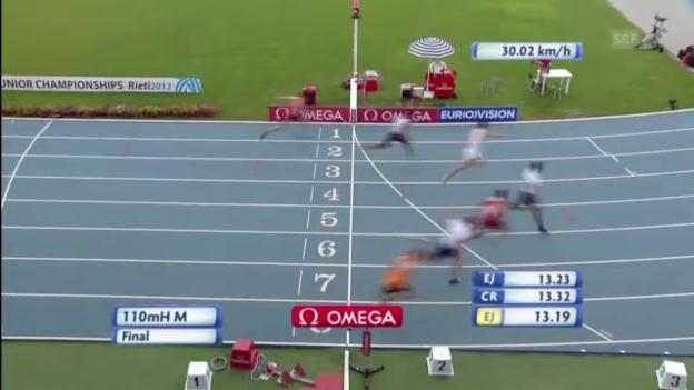 Video «LA: Bronze von Brahian Pena über 110 m Hürden» abspielen