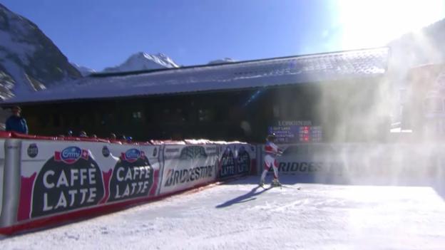 Video «Ski: Abfahrt Frauen in Val d'Isère, die Fahrt von Lara Gut» abspielen