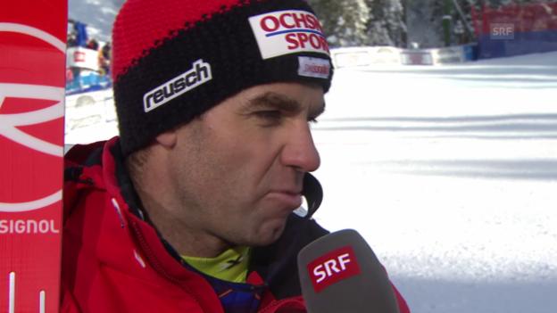 Video «Ski Alpin: Abfahrt Wengen, Defago im Interview» abspielen