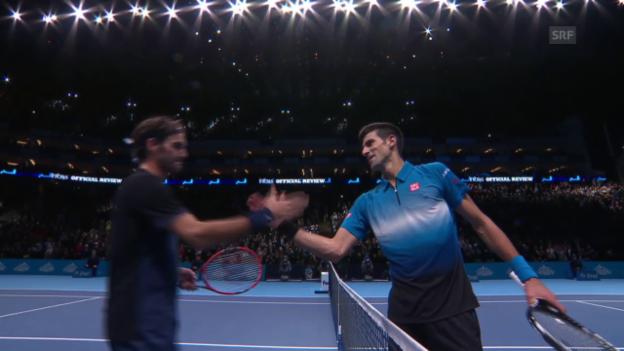 Video «Tennis: ATP Finals, Federer - Djokovic, Matchball Federer» abspielen