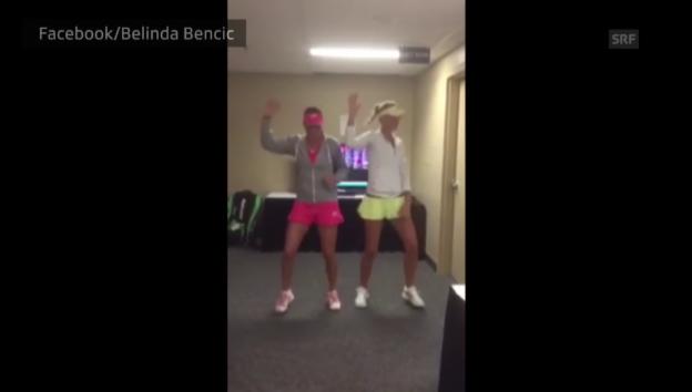 Video «Belinda Bencic und Kristina Mladenovic tanzen sich warm» abspielen