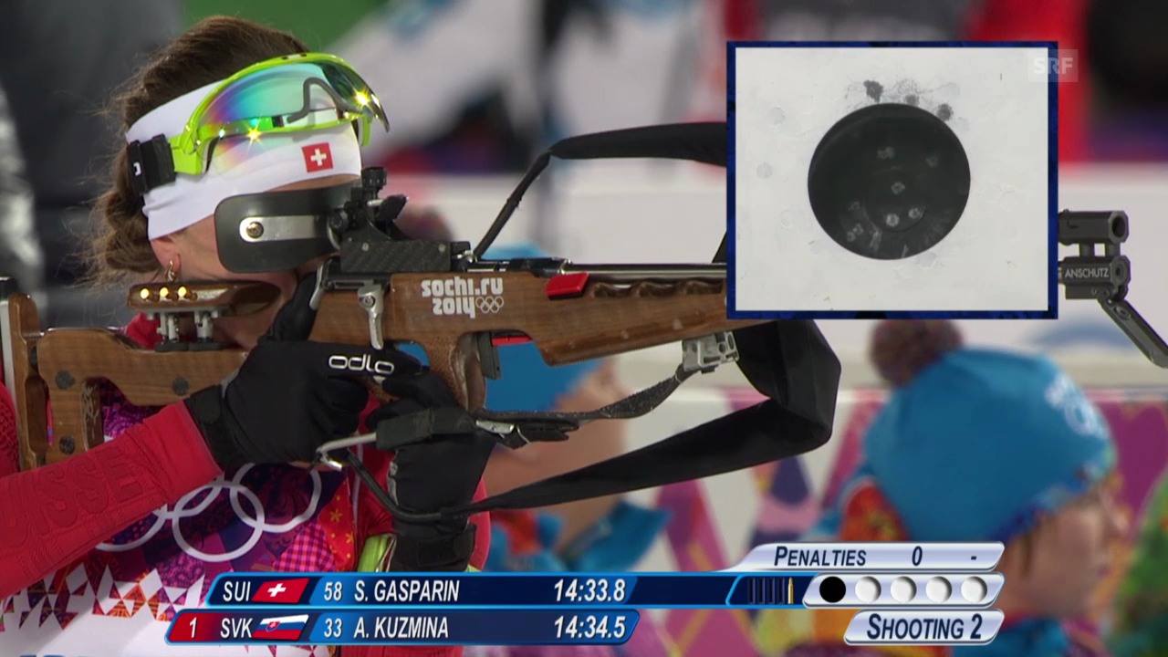 Biathlon: Sprint 7,5km Frauen, Selina Gasparin (sotschi direkt, 9.2.2014)