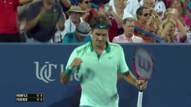 Video «Tennis: Federer - Monfils, wichtige Punkte» abspielen