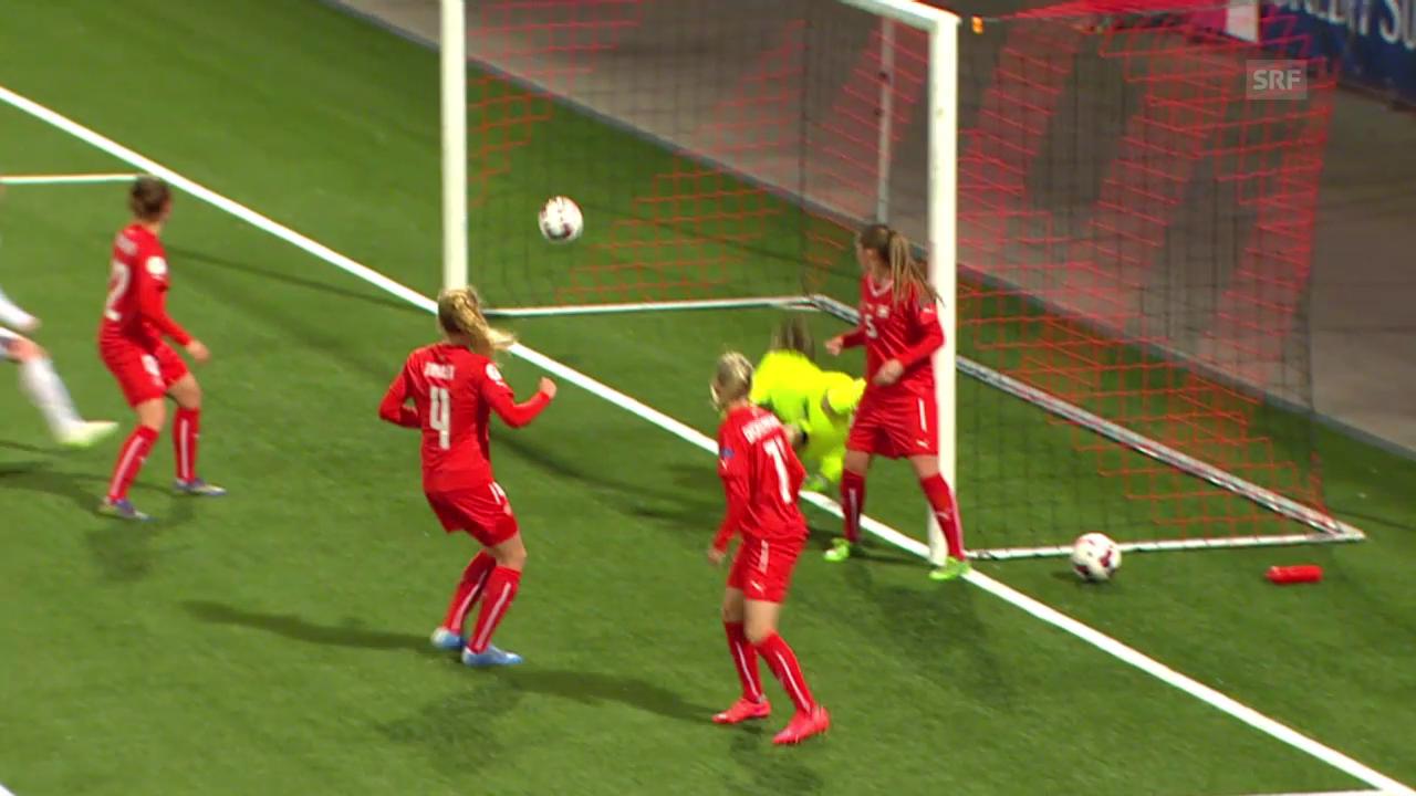 Fussball: Frauen Nationalmannschaft, EM-Qualifikation Schweiz - Tschechien, Svitkovas direkt verwandelter Eckball