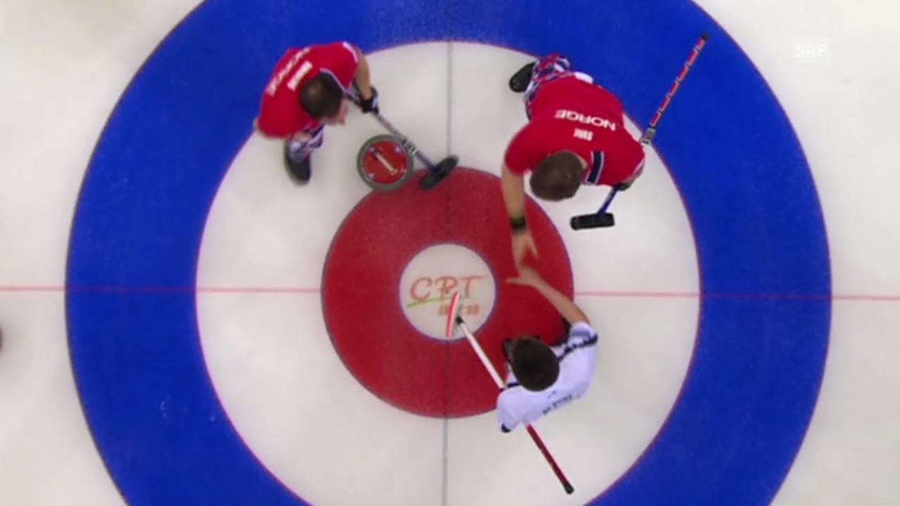 Curling: WM in Peking, Round Robin, SUI-NOR, entscheidende Steine