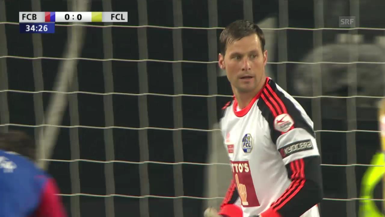 Fussball: Cup-Halbfinal, Basel - Luzern, David Zibung mit mirakulöser Parade gegen Fabian Frei («sportlive»)