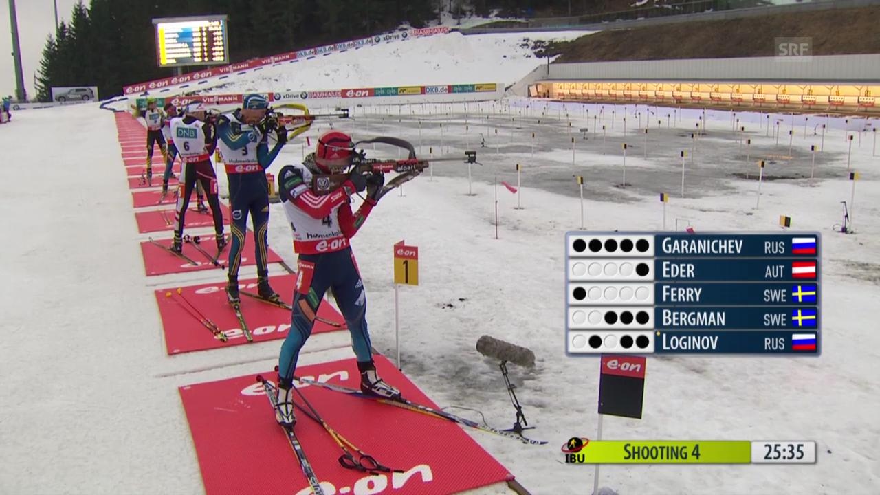 Biathlon: Verfolgung Männer in Oslo, Schlussphase