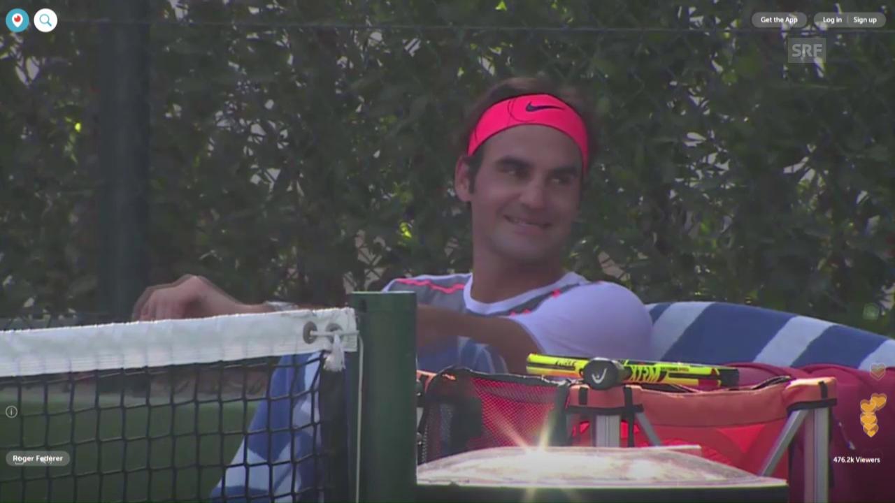 Impressionen aus dem Training von Federer (Quelle: Periscope)