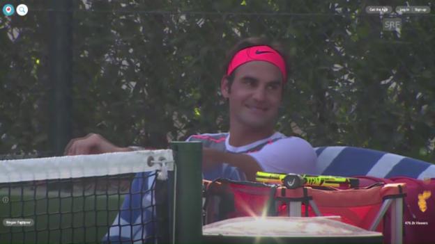 Video «Impressionen aus dem Training von Federer (Quelle: Periscope)» abspielen