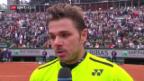 Video «Wawrinka nach Steigerungslauf im Viertelfinal» abspielen