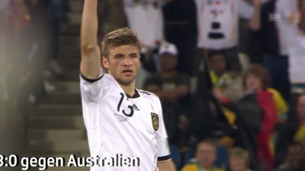 Video «WM 2010: Thomas Müllers Tore in Südafrika» abspielen