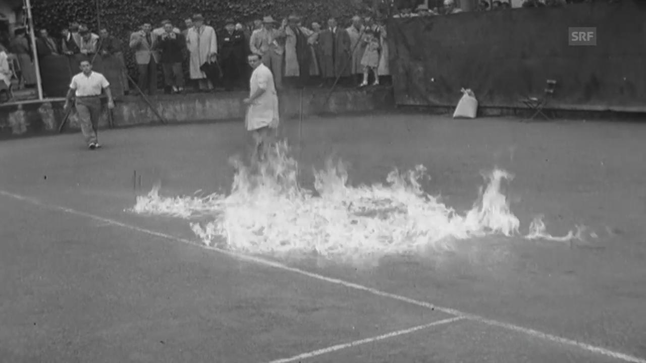 Flammen auf dem Court (Schweizer Filmwochenschau vom 31.5.1946)