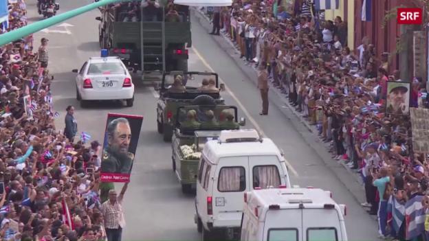 Video «Trauerzug auf dem Weg nach Santiago de Cuba» abspielen