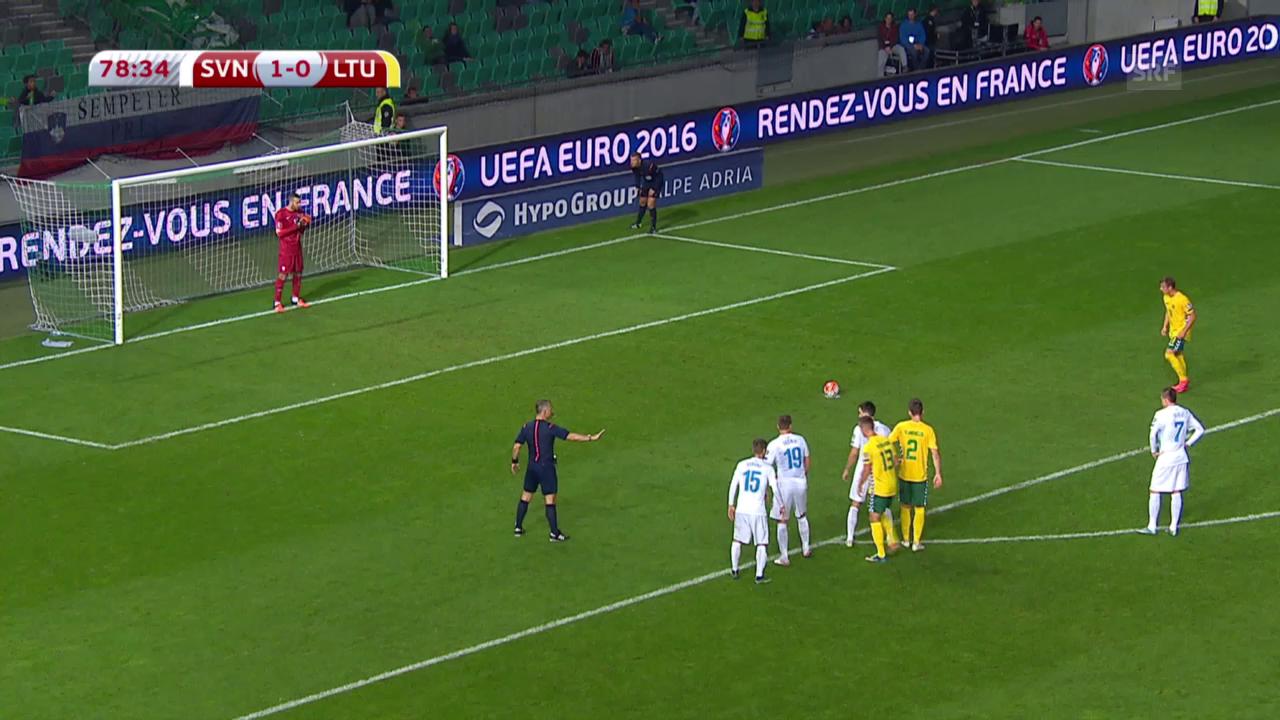 Fussball: EURO-Quali, Zusammenfassung Slowenien - Litauen