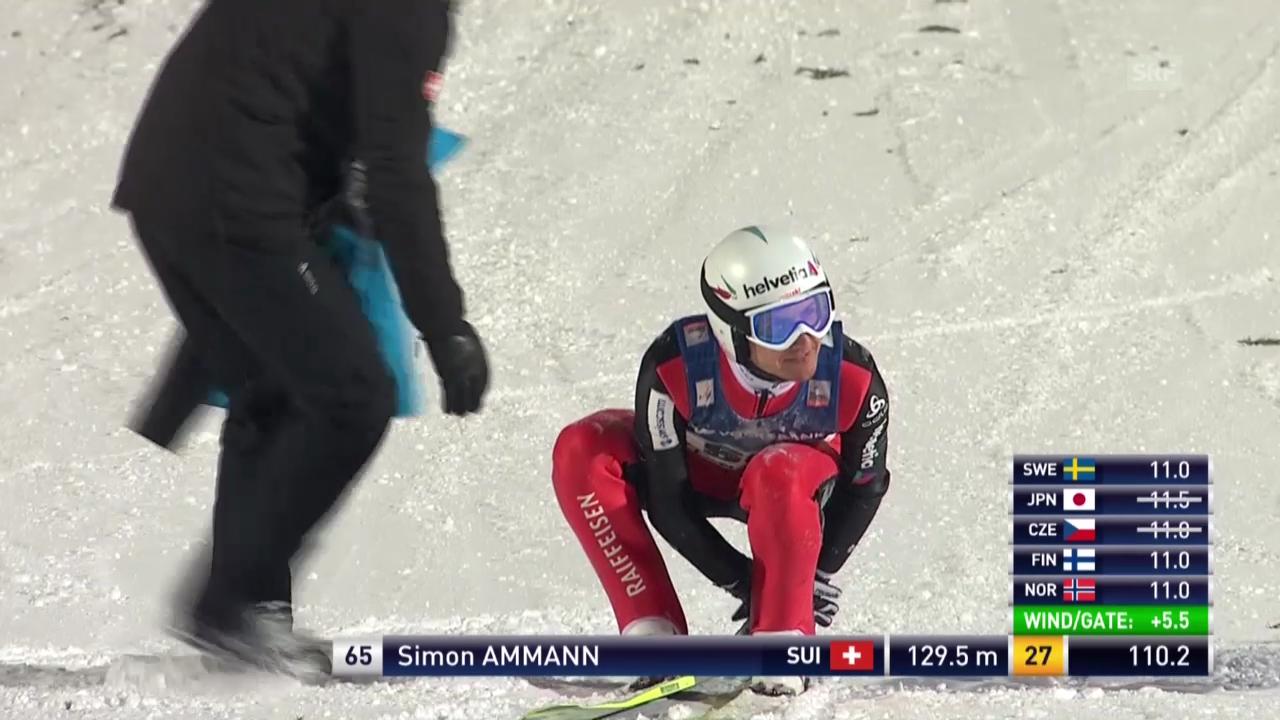 Skisprung: Simon Ammann stürzt in Lillehammer
