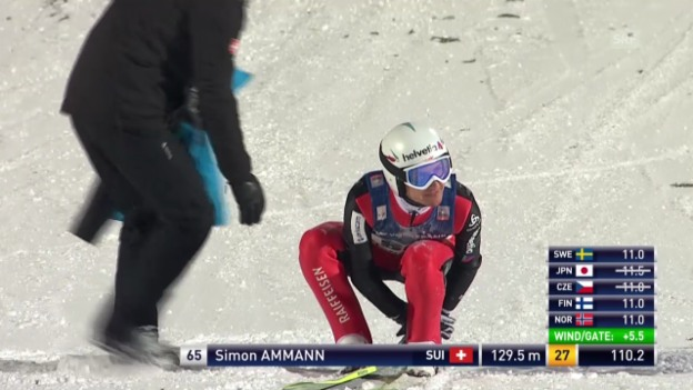 Video «Skisprung: Simon Ammann stürzt in Lillehammer» abspielen