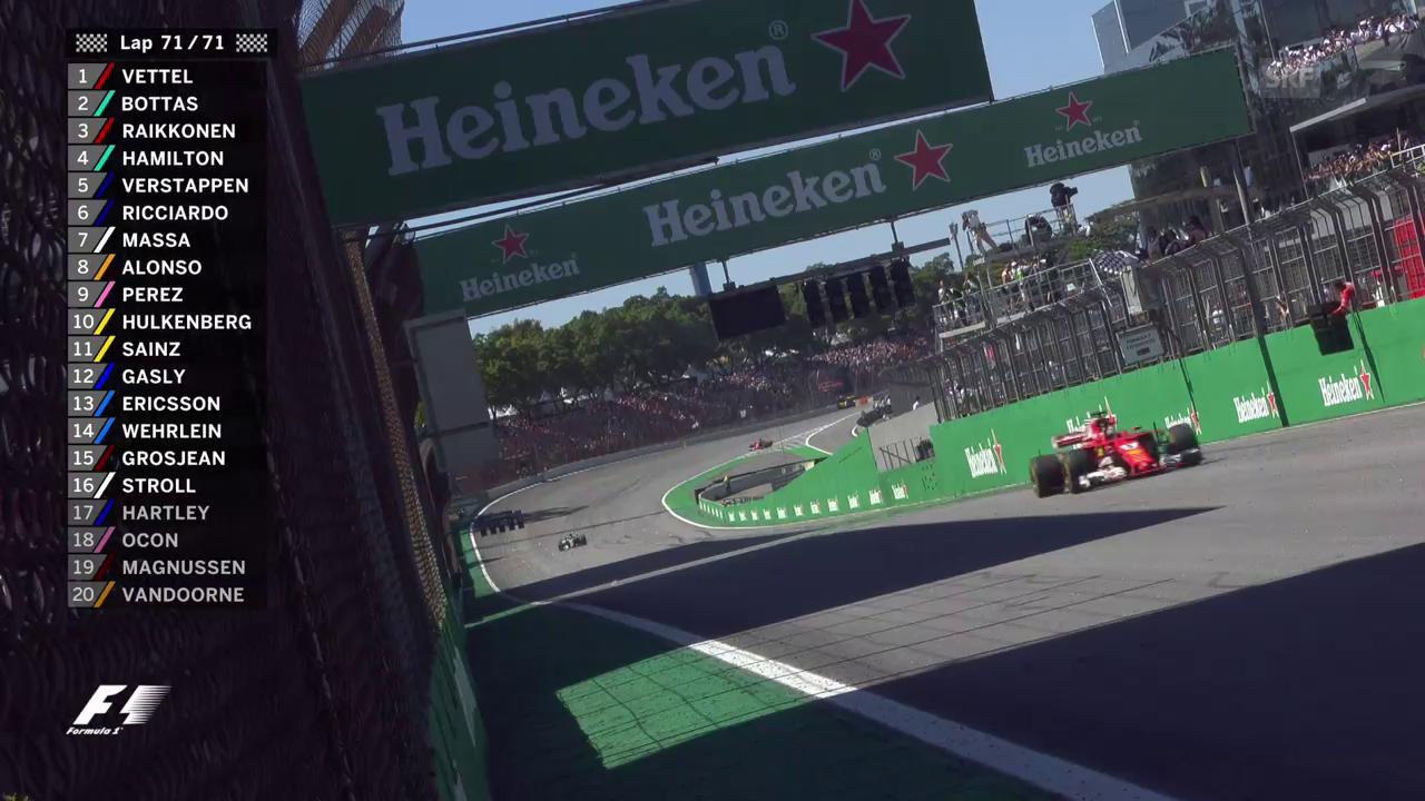 Die Zieleinfahrt von Sebastian Vettel