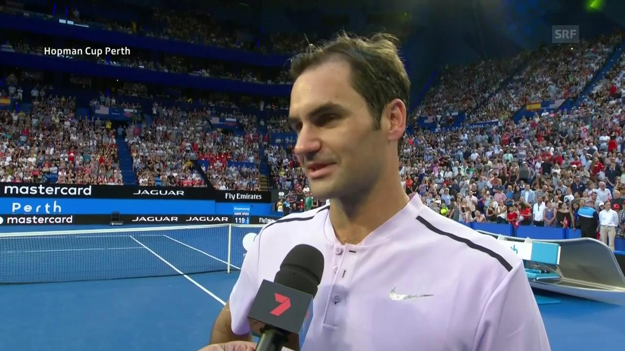 Federer im Platzinterview zu Scherzen aufgelegt